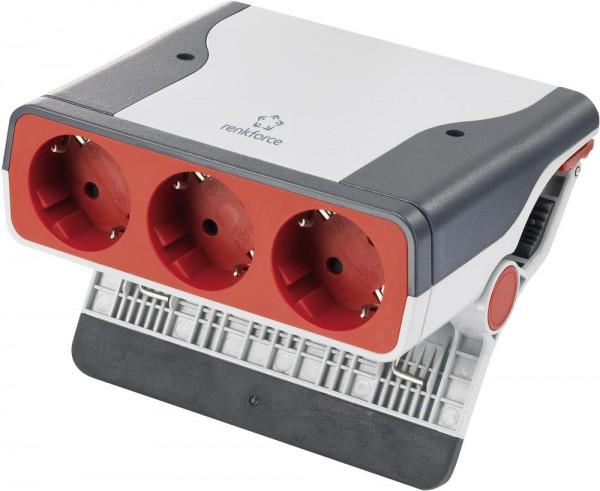 Steckdosenleiste ohne Schalter 3fach Grau