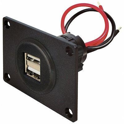Doppelsteckdose Power USB 12 - 24 V DC mit Montageplatte